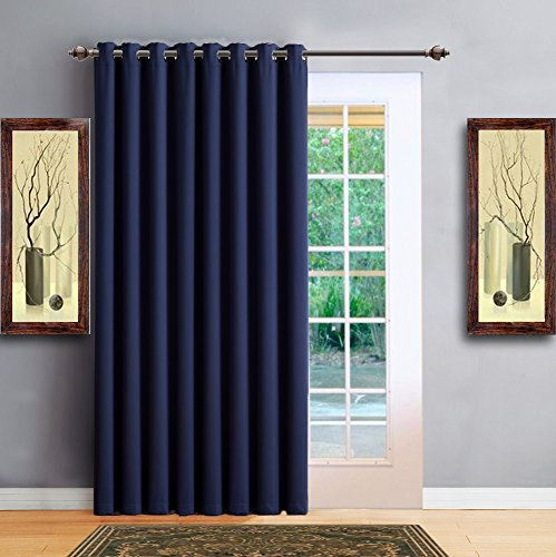 Warm Home Designs 1 Panel of Navy Blue Blackout Patio Door Curtains. Each Extra Wide, Extra Long Insulated Thermal Sliding Door or Room Divider Curtain Is 102