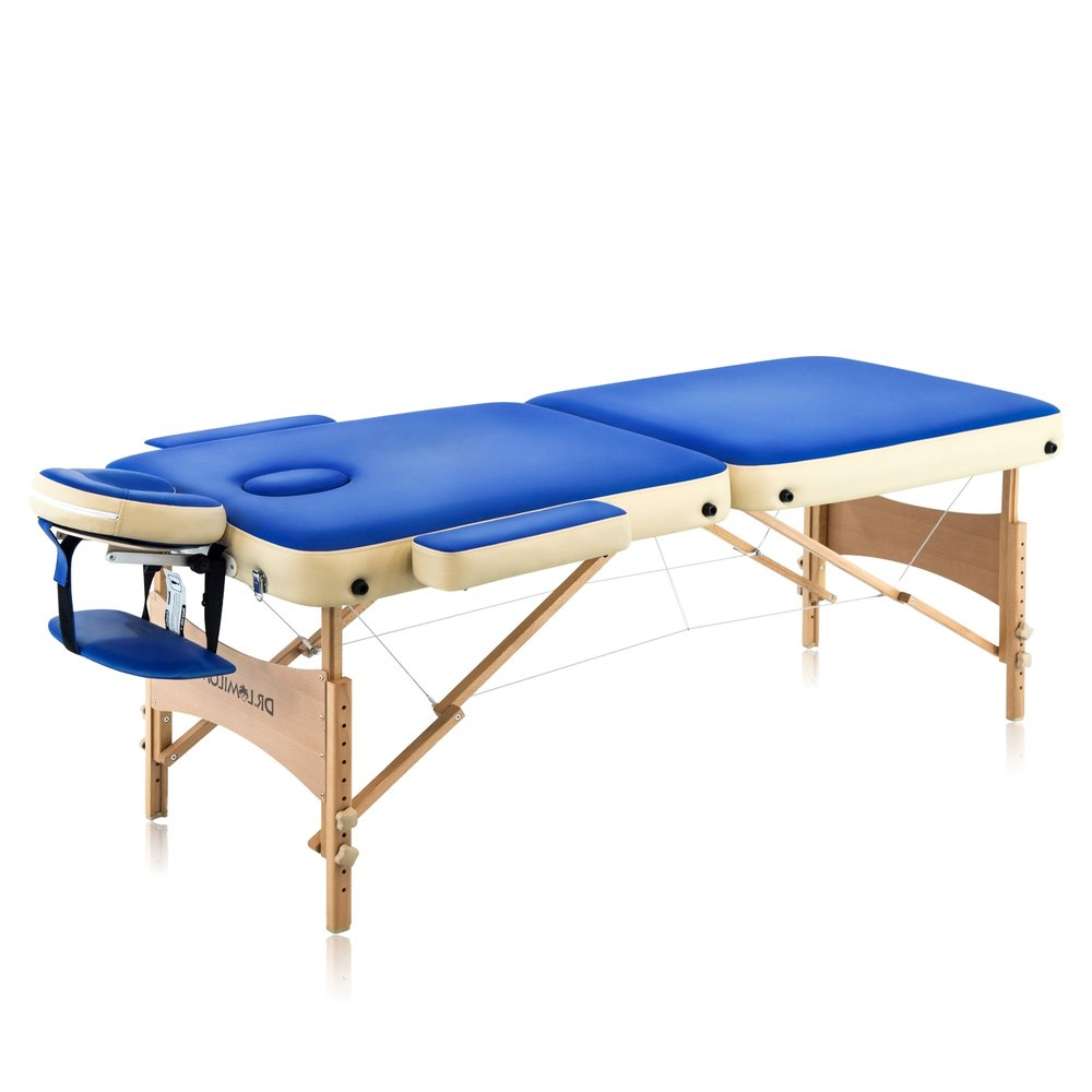 Portable Massage Table Package - Length 73 - Height Adjustable 25- 36 - Working Weight: 550lbs - German Beechwood Legs & Frame - Free 3-Piece White Poly-Cotton Sheet Set DR.LOMILOMI