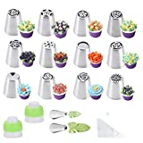 Russian Piping Tips Cake Decoration Baking Set 26 pcs-14 Icing Nozzel (2 Leaf Tips)+10 Baking Pastry Bags+2 Couplers Frosting Tips Set