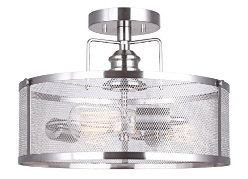 CANARM LTD ISF626A03BN Beckett 3 Bulb Semi-Flush Mount, Brushed Nickel with Metal Mesh Shade, 3 Light,