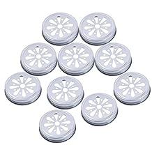 Pewter Daisy Ball Jelly Drinking Straws Lids for Regular Mason Jars Pack of 10 - Silver, 7 cm