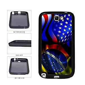 Brazil and USA Mixed Flag TPU RUBBER SILICONE Phone Case Back Cover Samsung Galaxy Note II 2 N7100