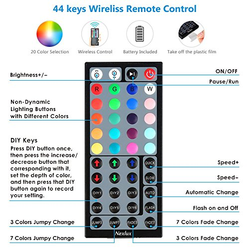 Nexlux LED Strip Lights, 16.4 ft Color Changing Light Strip 5050 SMD RGB LED Flexible Strip Lights Black PCB Board Decoration Lighting 44 keys IR Remote Controller UL Power Adapter by Nexlux (Image #2)