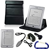 Gizmo Dorks Leather Case / Stand (Black), Screen Protector, LED Light, and Charging Bundle for the Amazon Kindle Touch and Touch 3G