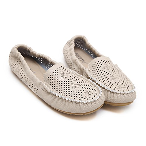 Meeshine Breathable Womens Cut Out Slip-On Ballet Flats Shoes Apricot ml841Y70