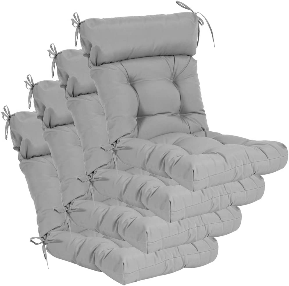 QILLOWAY Indoor/Outdoor High Back Chair Cushion ,Tufted, Replacement Cushions - Pack of 4. (Grey)
