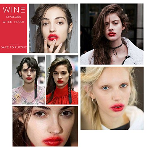6 set Wine Bottle Lip gloss Tint Water Proof Lipstick Tint, Long Lasting Kiss proof, Non-stick Cup Lipstick Gloss by ELAIMEI (Image #3)