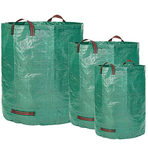 Sacos de jardín GloryTec 3 tamaños diferentes - 3 Bolsas de jardín Premium - Bolsas para la basura del jardín estables, hechas de tela de polipropileno ...