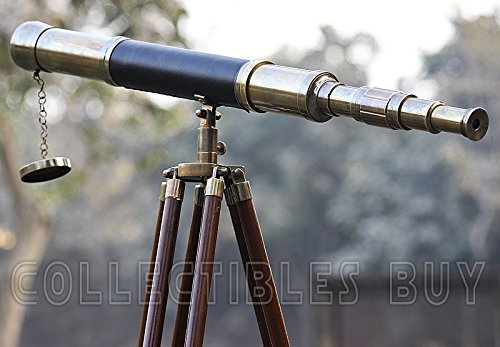 Sailor Boat Antique Telescope Black Leather Wooden Stand Marine Royal Telescopes by Collectibles Buy (Image #6)