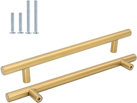 color dorado armarios de cocina o puertas en forma de T de Goldenwarm de acero inoxidable Tirador de puerta para muebles