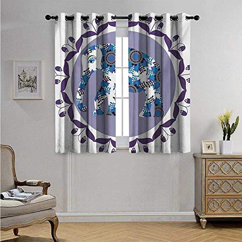 EthnicDecorCurtainsbyOrnate Elephant Figure in Medallion Pattern with Tulip Flowers Eastern Artwork Blackout Drapes W55 x L45(140cm x 115cm) Lilac Blue ()