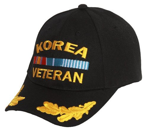 Military - Korea Veteran Adjustable Hat with Wing Embroidery - Black (Korea Hat Military)