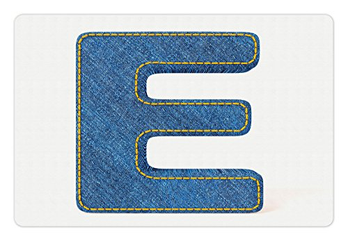 Ambesonne Letter E Pet Mat for Food and Water, Denim Blue Jeans Themed Symbol E from Alphabet ABC of Fabric Uppercase Letter, Rectangle Non-Slip Rubber Mat for Dogs and Cats, Blue Yellow