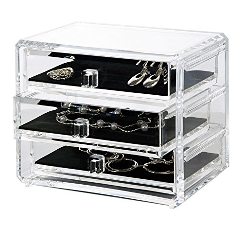 (Acrylic Deluxe 3-Drawer Jewelry Chest)