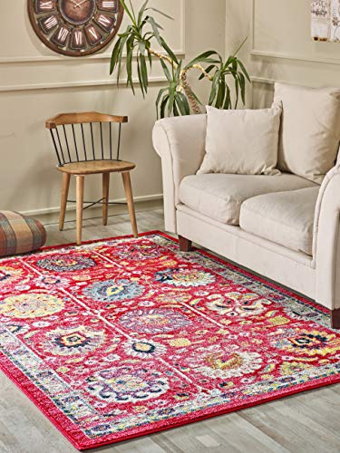 (Golden Rugs Persian Kilim Area Rug Floral Red Multi Color Hand Touch Vintage Abstract Belini Texture for Bedroom Living/Dining Room 7478 (4x6, Red))