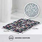 Non Skid Memory Foam Bath Mat English Springer Spaniel and Retro Floral Home Decor Shaggy Rugs Entryway Mat, Machine-Washable/Fast Drying/Anti Fatigue Doormat (19.5 x 31.5 inch) 8