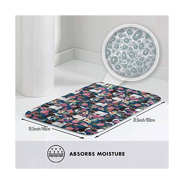 Non Skid Memory Foam Bath Mat English Springer Spaniel and Retro Floral Home Decor Shaggy Rugs Entryway Mat, Machine-Washable/Fast Drying/Anti Fatigue Doormat (19.5 x 31.5 inch) 3