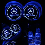 #2: TaiFuMaoYi Led Car Cup Holder Mat Pad Waterproof Bottle Drinks Coaster Built-in Vibration Automatically Turn On at Dark Universal 7-Color Light 2-Packs(Mercedes-Benz)