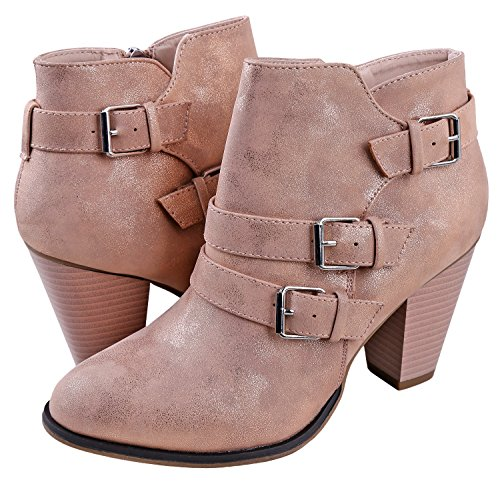Women's Booties Strap Heel Mall Buckle Gold Forever Ankle Rose Titan Block xTn67EB8