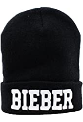 Leegoal Unisex Winter Warm Letters Printed Knit Hat,Black 10
