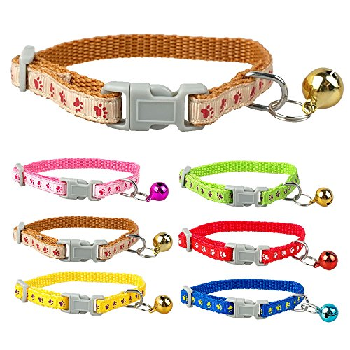Dog Collars with Bell Cute Adjutable Paw Print Small Puppy Cat Kitty Kitten Collar With Bell Nylon Pink Blue Red (6 PCS)