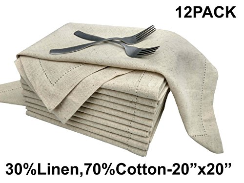 en,70% cotton) Unique Designer Premium Hemstitched Dinner Napkins 20x20, Natural Color With Rustic Linen Look Offered By Linen Clubs (SET of 12 PIECES) (Designer Napkins)