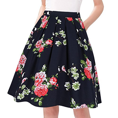 Taydey A-Line Pleated Vintage Skirts for Women (XL, Bird Flowers)
