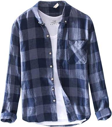 Camisa Hombre Manga Larga a Cuadros Botón Casual Camisa Primavera y Verano Informal Ligera Top cómodo: Amazon.es: Ropa y accesorios