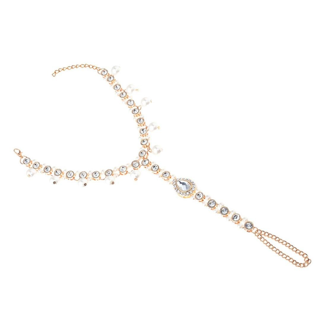 Molyveva Rhinestone Foot Chain with Pearl Barefoot Sandal Foot Jewelry Anklet Chain Gold Silver Sandal Fashion Wedding Jewelry