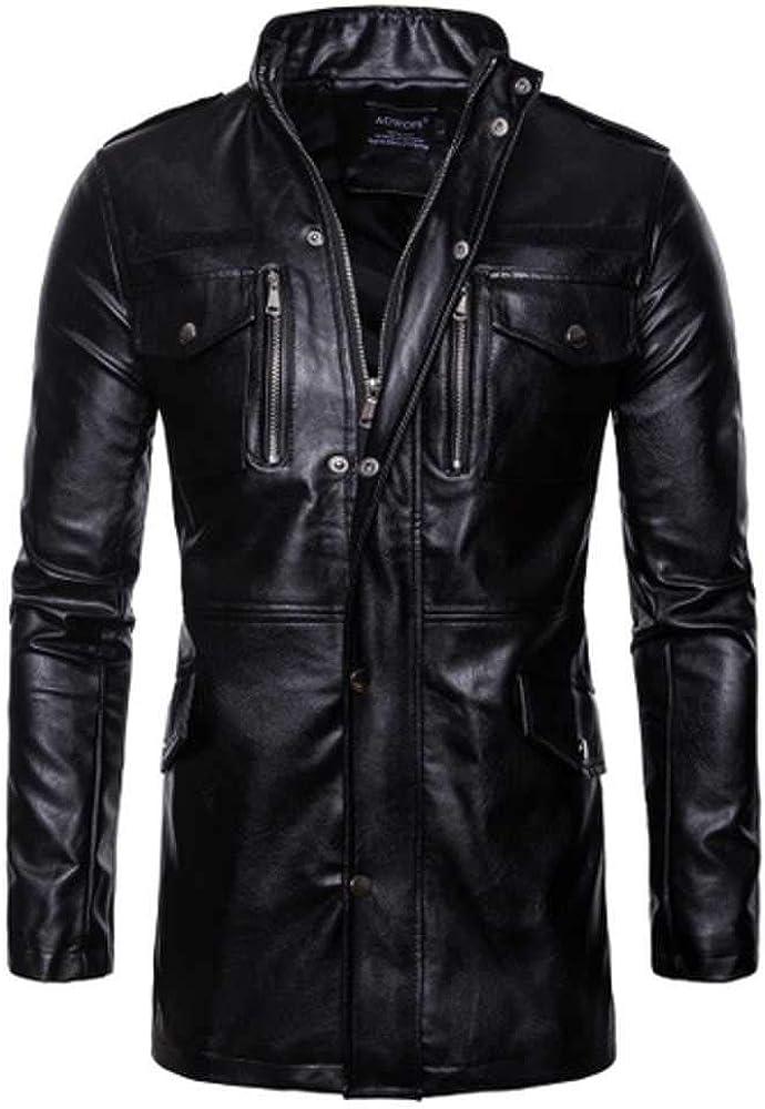 NOBRAND Chaqueta de cuero de los hombres negro cuello de pie para hombre casual largo motocicleta chaqueta de cuero de la PU