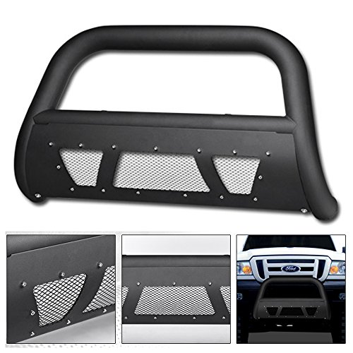 (VXMOTOR 1998-2011 Ford Ranger Heavyduty Matte Black Studded Mesh Bull Bar Brush Push Front Bumper Grill Grille Guard With Skid Plate)