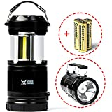 LED Camping Lantern - Winner Outfitters 1 Pack Portable Outdoor LED Camping Lantern with Flashlight (included 3 AA Batteries)