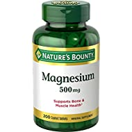 Nature's Bounty Magnesium, 500 mg, 200 Coated Tablets, Mineral Supplement, Supports Bone and Muscle Health(1), Gluten Free, Vegetarian