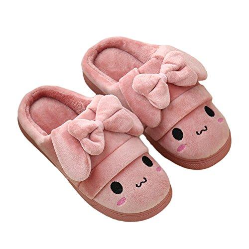 Btrada Lovely Bowknot Smiley Pantoufles Dhiver Visage - Couple Confortable Velours Pantoufle Pour La Maison / Intérieur Rose
