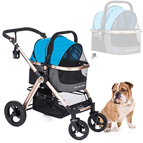 HPZ Pet Rover Prime 3-in-1 Luxury Dog/Cat/Pet Stroller (Travel Carrier +Car Seat +Stroller) w/Detach Carrier/Pump-Free Rubber Tires/Aluminum Frame/Reversible Handle for Medium & Small Pets (Sky Blue)