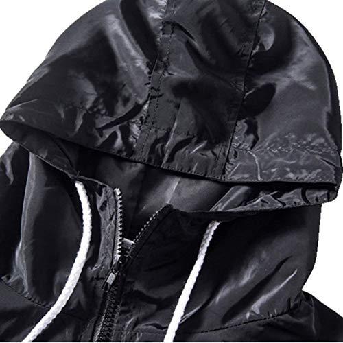 Stampate Elegante Schwarz Glamorous Vento Semplice Donna Digitale Autunno Primaverile Windbreaker Cappuccio Lunga Leggero Sciolto Outerwear Moda Casuali Giacca Manica Con xZPBqnqHw