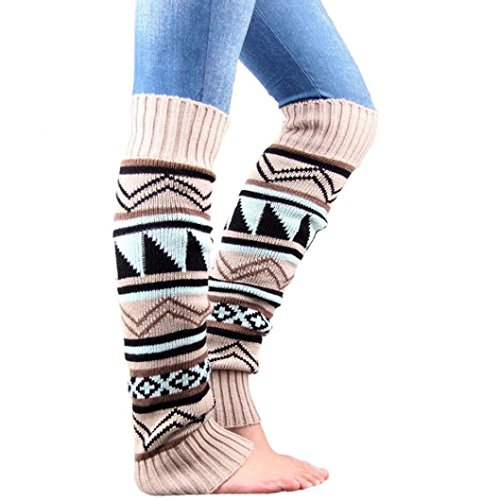 Cotton Leg Warmers Socks,Hemlock Womens Girl's Keep Warm Knitting Leg Stocking Boot Covers (Beige)
