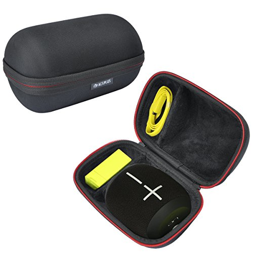 HESPLUS Shockproof Carrying Case Compatible for Ultimate Ears UE WONDERBOOM IPX7 Waterproof Portable Bluetooth Speaker, Fits Wall Charger and USB Cable - Black