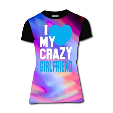 Amazoncom Brniogn Womens T Shirts I Love My Crazy Girlfriend 3d