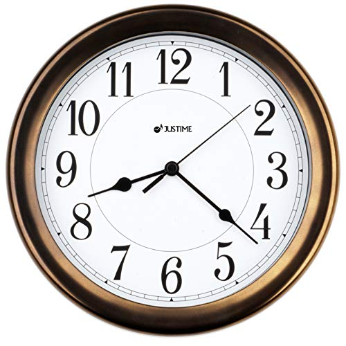 8.5 Inch Simply High-end Plastic Decorative Wall Clock, Water Resistant, Special for Small Space, Office, Boats, RV W86011 Vintage Bronze