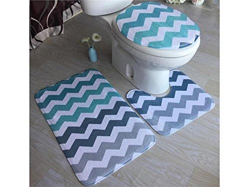 Hezon 3 Packs Bathroom Set Non-Slip Retro Style Pedestal Rug+Lid Toilet Cover+Bath Mat (Wave) EASY TO USE