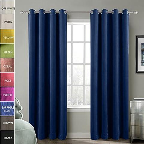 ChadMade Blackout Lined Premium Velvet Curtain Sapphire Blue 50Wx84L Inch (1 Panel), Eyelet Grommet For Livingroom Bedroom Theater Studio, BIRKIN (Dark Layers Volume 2 Volume 1)