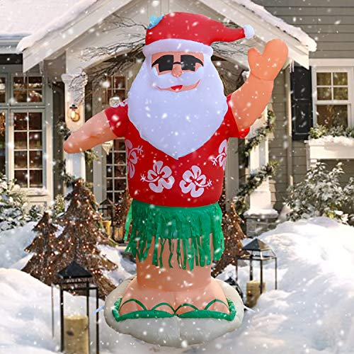 SEASONBLOW 7 Ft Christmas Inflatable Hawaii Santa Claus Xmas Decoration for Yard Lawn Garden Home Party Holiday Beach Indoor Outdoor from SEASONBLOW