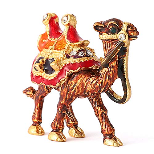 QIFU-Hand Painted Enameled Mini Camel Decorative Hinged Jewelry Trinket Box Unique Gift For Home Decor