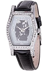 Croton Women's Quartz Brass and Leather Casual Watch, Color:Black (Model: CN207514BSGY)