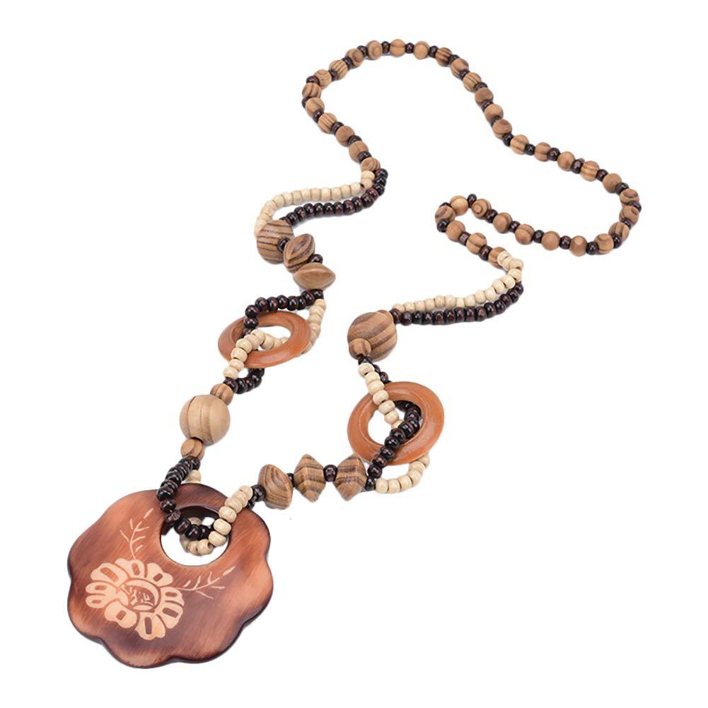 Hosaire/® 1 Pc Ronde Collier De Perles G/éom/étriques De Style Ethnique Exquis Cha/îne De Chandail De Mode Exquise en Bois Sautoir Classique R/étro Style-1