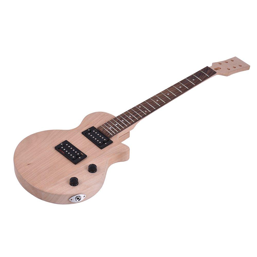 ammoon Guitarra Eléctrica DIY Niños Estilo LP Inconcluso Kit Cuerpo y Cuello de Caoba Diapasón de Palisandro Pastillas Dobles de Doble Bobina: Amazon.es: ...