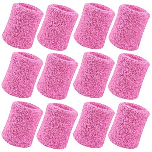 - Vidillo Sweatband, Wrist Sweatband 12 Pack, 4 Inch Sports Sweatband Wristband Soft Thicken Cotton,for Tennis Gymnastics Football Basketball, Running Athletic Sports (White) (Pink)