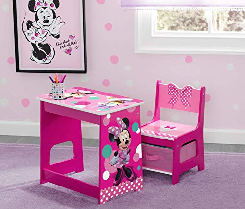 Home Joy Little Girls Desk Toddler Table Chair Set Storage Minnie Mouse Kids Pink Bedroom by Home Joy