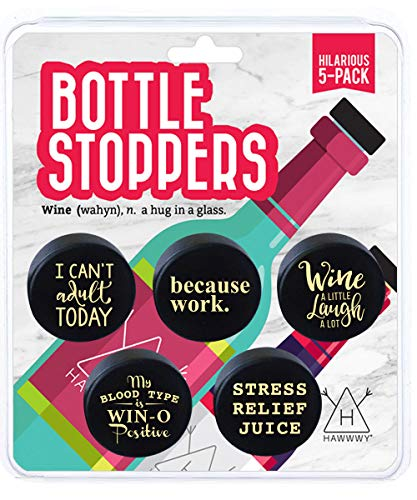 Hawwwy Funny Wine Stoppers, 5 Pack Hilarious Bottle Topper Sayings Cute Kitchen Gadgets Gifts, Air Tight Reusable Unique Themed Gift Idea Fun Saver Best Caps Accessories Preserver Beverage Decorative